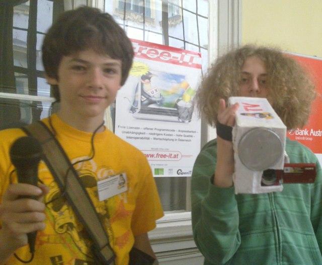 spielend-programmieren Reporter Markus (links) und Raphael mit Nerdcam